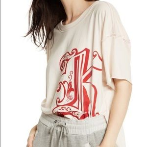NWT Free People Letter Graphic Petal Combo Tee
